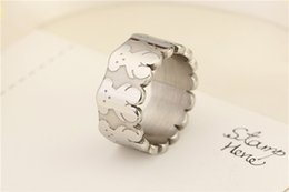 Wholesale Indian Bears - CL Fashion New simple design women good quality stainless steel finger wide band ring no fade bears Drop shipping 1pcs