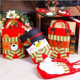 Wholesale Wrapping For Candy - Christmas Candy Bags Santa Claus Gifts Handbag Kids Christmas Snowman Santa Claus Treat Bags for Party Decoration Gift Wraps CCA7312 50pcs