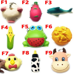 Wholesale frog soft toy - Squishy Toy frog cake Animal chicken dolphin corn squishies Slow Rising 10cm 11cm 12cm 15cm Soft Squeeze Cute gift Stress children toys F10