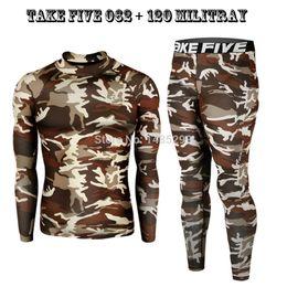 Wholesale Premium Pants - Wholesale-New Premium Hiking Take Five Men's Compression Skin Tight Sports Long Sleeve Shirts & Pants Sets-62+120