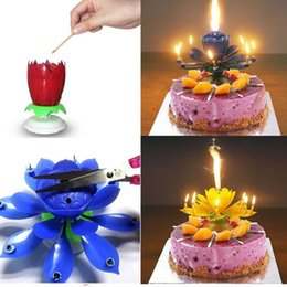 Wholesale Romantic Birthday Cakes - 4pcs New Flower Decorative Candles Amazing Romantic Musical Lotus Rotating Happy Birthday Wedding Candles For Cake Decoration