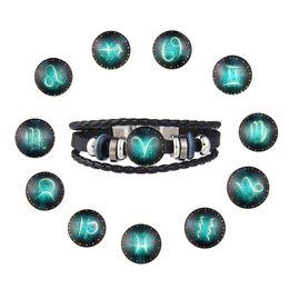 Wholesale 12 Zodiac Signs Pendant - 2018 NEW Leather Woven Bracelets 12 Zodiac Signs Noosa Pendant Hand Chain Retro Beaded Love Multilayer Bracelet Jewelry Accessories