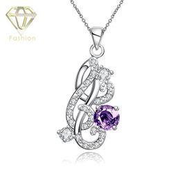 Wholesale Eau Women - Monogram Jewelry 4 Color Crystal Styles Pendants Silver Plated Statement Necklace for Wedding Eau De Toilette Perfume Women
