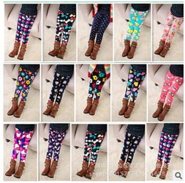 Wholesale Thick Cotton Tights Girls - DHL free shipping 2016 autumn winter girl leggings plus velvet warm printed Leggings Tights pants children baby thick trousers hot wholesale