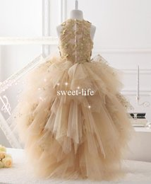 Wholesale Dresse Wedding Ball - Sweety Champagne Hi-lo 2017 Ball Gown Flower Girls Dresse Jewel 3D-Floral Appliques Tulle Tiered Skirts Party Communion Dresses