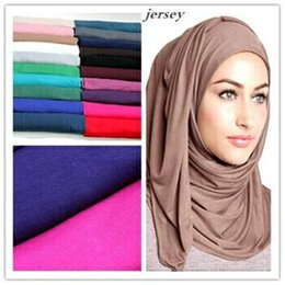 Wholesale Cotton Fashion Shawl - 21 Colors Plain Solid Color Jersey Hijab 2016 Latest Style Fulares Mujer Wrap Snood Echarpes Foulard Women Winter Sjaal 180*85Cm