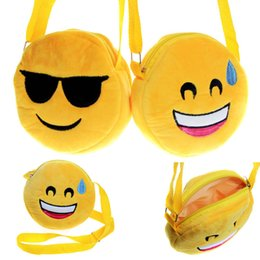 Wholesale Kawaii Design - 12 Designs baby Emoji Bags Kids Cross Body Shoulder Bags 3D Expression Kawaii Plush purse bag