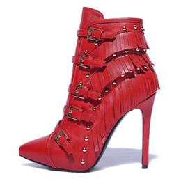 Wholesale Tassel Work Boots - Women Genuine Leather Martin Boots Women Fashion Tassel Boots