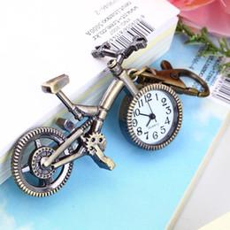 Wholesale Clock Bike - Wholesale-Fashion vintage Bronze Color Bike keychain Clock Quartz Pocket Pendant Watch Necklace Sweater key Chain Wholesale Quality