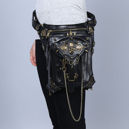 Wholesale Belt Waist Bag For Women - Steampunk Skull Waist Bags Retro Leather Waist Belt Bag for Women Leg Holster Bag Rivet Travel Shoulder Waist Packs