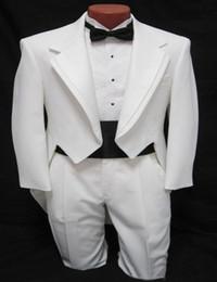 Wholesale Girdle Bow Bridegroom - Wholesale-Custom suit Men's boys White Tuxedo Tailcoat Dance Costume Tux Tails Coat Bridegroom wedding suits(Jacket+Pants+bow+Girdle)