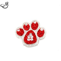 Wholesale Rhinestone Paw Print - 12pcs lot Newest crystal rhinestone dog  cat paw print Snap button charms Interchangable Bracelets Jewelry Snap Accessory MIJ097