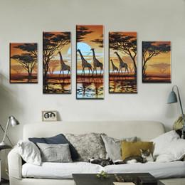 2019 pinturas a óleo de girafa Pintados à mão Abstrata Moderna Pinturas A Óleo girafa Na Lona 5 pçs / set arte Decoração Da Parede Imagens de Animais Em Casa pinturas a óleo de girafa barato