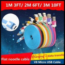 2019 câbles de nouilles v8 V8 Micro USB Noodle Plat USB Sync Data Charger Câble Cordon Pour Samsung Galaxy LG Sony 1M 3ft 2M 6ft 3M 10ft promotion câbles de nouilles v8