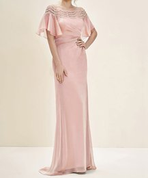Wholesale Detailed Formal Dresses - 2017 Sheath Pink Mother of the Bride Dresses With Sleeve Lace Detail Off-the-shoulder Neck Zipper Back Long Formal Gowns Wedding Guest Dress