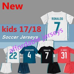 Wholesale Football Jersey Fonts - affordable jerseys 2017 2018 kids Real madrid soccer Jerseys New Font 17 18 RONALDO white Black JAMES BALE RAMOS ISCO MODRIC football shirt