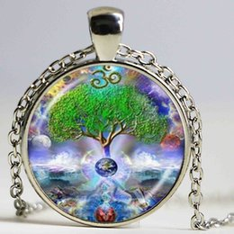 Wholesale Namaste Necklace - Om Tree of Life Necklace Chakra Pendant Mandala Namaste Jewelry Earth Planet Space Waterfall Photo Choker Neckless Women Gifts