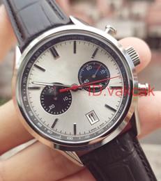 Wholesale folding clock - Fashion Top Luxury Brand Men watch leather wristwatch sports mens calibre 17 chronograph watches brand space flyback 1887 TG Quartz CLOCK