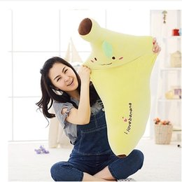 Wholesale- Kids Plush Pillow Toys High Quality Home Textile pp Cotton Skinned Banana Plush Toy Novelty 40cm and 60cm Pillow Cushion Gift Coupons