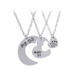 Wholesale Sterling Silver Initials - Hot style alloy leather necklace good sister Little Middle Big Sister three petal plicing love necklace