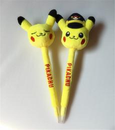 Wholesale Novelty Cartoon Pen - Poke Pikachu plush Ballpoint pens 2styles Plush Novelty Games Toys Children Cartoon Action Anime Pocket Monsters Stuffed Doll Pens XMAS Gift