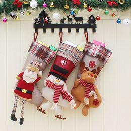 Wholesale wholesale xmas baubles - Christmas Stocking Plaid Wool Santa Claus SnowmanSock Gift Bag Kids Xmas Noel Decoration Candy Bag Bauble Christmas Tree Ornaments Supplies