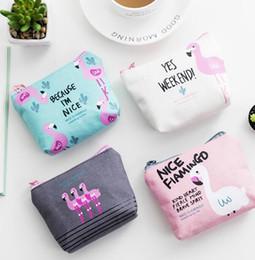 Wholesale Cute Design Wallets - Flamingo Wallet Women Purses Cartoon Bird Ladies Cartoon Cute Bag Canvas Zipper Coins Bag Wallet 5 design KKA3021