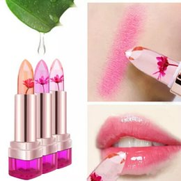 Wholesale Color Changing Flowers - Temperature Change Color Lip Balm 3 Color Waterproof Long-lasting Sweet Transparent Jelly Flower Pink Moisturizer Lipstick