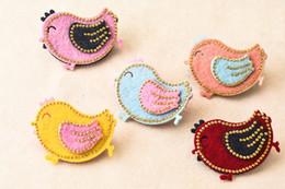 Wholesale Bird Hair Clips - Wholesale 30pcs 5 Colors Baby Girls Glitter Cartoon Cute Chicken Baby Girls Hairpins Solid Bird Girls Hair Clips