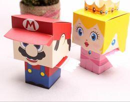 Wholesale Super Marie Box - New 50pcs lot cartoon Super Marie Bros princess Bride and Groom wedding favors Mario candy box wedding gifts Free Shi