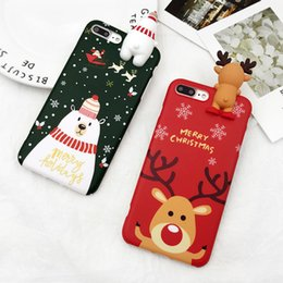 Wholesale Iphone Snowman - Best Christmas Gift Phone Case For iphone X 8 Case For iphone 7 8 Plus Cover Cartoon Christmas Deer & Snowman Soft TPU Cases