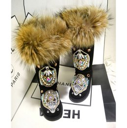 Wholesale Handmade Wool Shoes - 2016 winter hot super warm snow boots fashion handmade fox wool half boots totem luxury diamond drill warm winter boots cotton-padded shoes