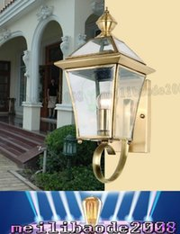 Wholesale Solar Ground Outdoor - 2016 new listing High quality glass grinding copper creative outdoor solar lamp wall lamp aisle Square Garden Restaurant LLFA