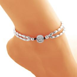 Wholesale Pull Beads - 2017 New Fashion Round Rune Starfish Anklet Pull Beads Bobo Bracelet Bohemia Leg Chain For Women Girls Beach Foot Jewelry