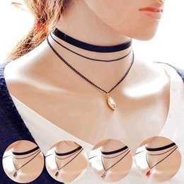 Wholesale Multilayer Choker Necklace - Simple punk necklace black multilayer Chokers 2016 hot sale 5 colours crystal choker necklaces for women