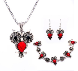 Wholesale Tibetan Owl Necklace - Hot Fashion Sliver Color Pendant Necklace Earring Bracelet Owl Jewelry Vintage Retro Tibetan Sliver Stone Jewelry Sets