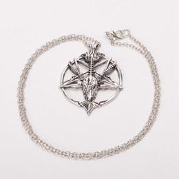 Wholesale Cross Necklace Vintage - 1pc Baphomet Inverted Silver Pentagram Necklace Retro Satan Occult Ritual Skull Vintage Fast Shipment New Arrivals