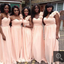 Wholesale Prices Pictures Wedding Dress - Summer Garden Light Pink One Shoulder Bridesmaids Dresses 2017 Chiffon A Line Long Maid of Honor Party Gowns Wedding Guest Dress Cheap Price
