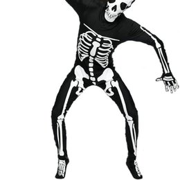 Wholesale Party Dress Leotard - Men Halloween Skeleton Ghost One Piece Suits Leotard Dress Up Party Cosplay Costumes Elastic Tight One Piece Clothing