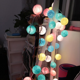 Wholesale Led Cotton Balls - New Arrival ! 20Sweet Pastel Light Multicolored Style Cotton Balls Led Light String Wedding Christmas Party Home Decoration