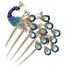 Wholesale Hair Pins Fashion Jewelry - Hot Fashion Peacock Hairpins Hairstyles Wedding Bridal Hair Pins Hair Jewelry Accessories Hairwear Girl Hair Clips For DIY Women