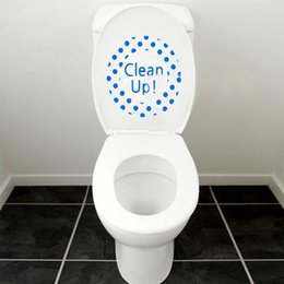Wholesale Toilet Seat Cleaners - Novelty CLEAN UP Art Blue Toilet Seat Wall Sticker PVC Vinyl Wallpaper Removable Bathroom Decals Decor