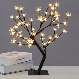 Wholesale Light Cherry Blossom Tree - Crystal Cherry Blossom 48LED Tree Light Night Light Table Lamp Black Branches Lighting Christmas Party Wedding LED Flowers Light 220V
