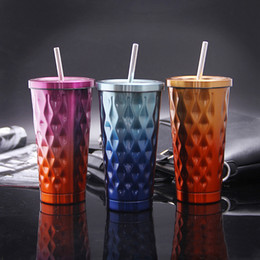 Wholesale Drinking Cups Straws - 500ML Gradient Color Stainless Steel Cold Cup Coffee Drink Tea Mug Travel Insulation Straw Cups With Lid 3 Color Free Shipping WX9-27