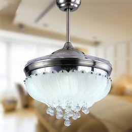 Wholesale Pendant Nickel - European simple design crystal pendant Light 42inch ceiling fan light blades hidden fan Invisible Blades Ceiling Fans ceiling fan light
