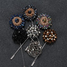 Wholesale Black Cross Lapel Pin - New fashion men brooch Flower lapel pin suit boutonniere Fabric yarn pin 11 colors button flower broochers for women Men's Accessories