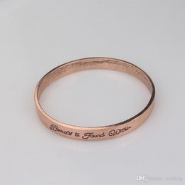 Wholesale Vintage Brass Findings - Vintage Antique Bronze Color Beauty And The Beast Bangle Engraved Beauty Is Found Within Fine Jewelry Circle Bracelet Bangle
