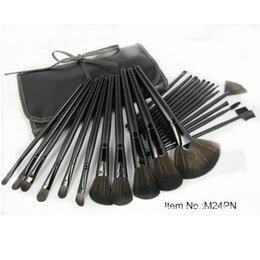 Wholesale Eyeshadow Leather Case - 24Pcs Professional Makeup Brush Set Foundation Powder Eyeshadow Make Up Brushes Tools With Leather Case GI5009