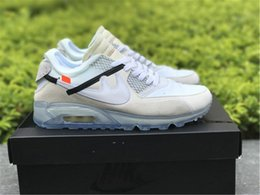 Wholesale Rubber Ice - New Arrival Off White x Airs 90 Ice 10X AA7293-100 Sports Running Shoes for Men Casual Sneakers Size With Box