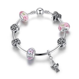 Wholesale Bird Clay - European Pandora Style Charm Bracelets with Pink Flower Murano Glass Beads & Bird Dangles Fashion DIY Bangle Bracelets for Women BL157